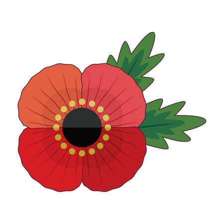 Fun, retro style red poppy flower with leaves for Anzac and Remembrance Day. Patriotic vector memorial element isolated on white for web, greeting card, social media.