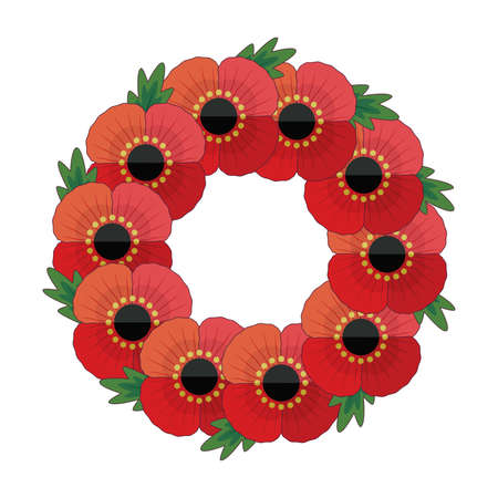 Fun, retro style wreath with red poppies and leaves for Anzac and Remembrance Day. Patriotic vector memorial element isolated on white for web, greeting card, social media.