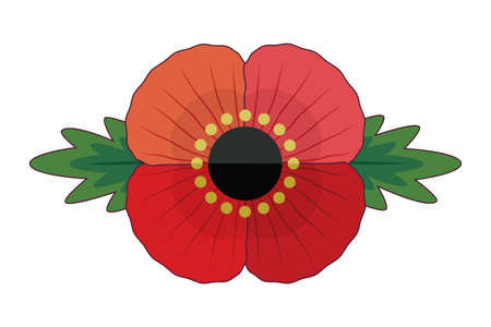 Cute, retro style red poppy flower with leaves for Remembrance Day and Anzac Day. Patriotic vector memorial element isolated on white for web, greeting card, social media. Vector Illustratie