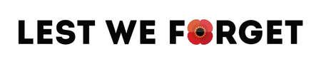 Typografische banner met tekst en rode papaver geïsoleerd op wit. Lest We Forget-bericht voor Anzac of Remembrance Day. Patriottisch vectorherdenkingselement voor web, wenskaart, sociale media.