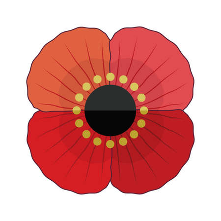 Fun, retro style red poppy flower for Anzac and Remembrance Day. Patriotic vector memorial element isolated on white for web, greeting card, social media.
