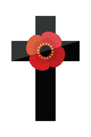 Retro style illustration of a black cross with a red poppy flower, isolated on white. Minimal vector illustration for Remembrance Day, Anzac Day. Patriotic element for web, card, menu or social media.