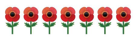 Illustration de style rétro d'une rangée de fleurs de pavot rouges, isolées sur blanc. Bannière de vecteur mignon pour le jour du Souvenir et le jour de l'Anzac. Élément commémoratif patriotique pour le web, carte de voeux, médias sociaux.