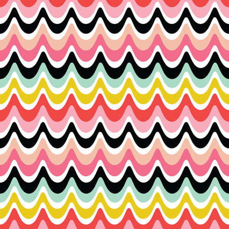 Fun seamless vector background with retro waves design in pink, red, yellow and black. Minimal seventies pattern for girls, birthday, home decor and fashion textiles, wrapping paper, wallpaper.
