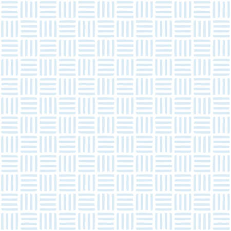 Cute seamless vector background with hand drawn basket weave pattern in pastel blue on white. For baby boy shower, Birthday, Wedding, scrapbook, cards, textiles, gift wrapping paper, surface textures.