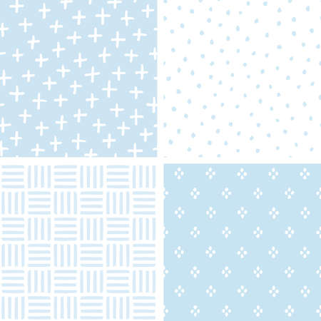 Vector set of 4 cute seamless hand drawn background patterns in pastel blue. For baby boy shower, Birthday, Wedding, scrapbook, greeting cards, textiles, gift wrapping paper, surface textures. 일러스트