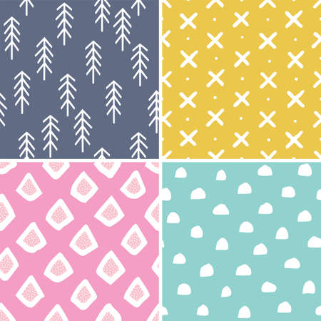 Vector set of 4 cute seamless pastel backgrounds in scandinavian style. Minimal hand drawn designs for baby shower, Birthday, scrapbook, cards, textiles, gift wrapping paper, surface textures. 일러스트