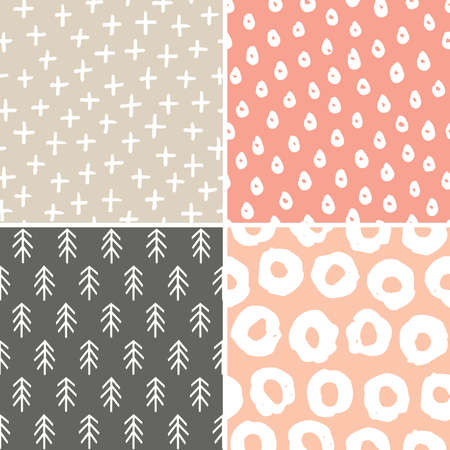 Vector set of 4 seamless abstract backgrounds in subtle colors. Minimal designs in scandinavian style for baby shower, Birthday, scrapbook, cards, textiles, gift wrapping paper, surface textures.