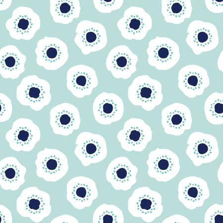 Simpatico sfondo vettoriale senza soluzione di continuità con fiori minimi in menta, blu marino, bianco. Stile scandinavo, motivo disegnato a mano per ragazze, tessuti alla moda, decorazioni per la casa, asilo nido, carta da parati, carta da regalo.