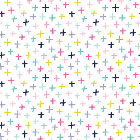 Seamless vector background with hand drawn crosses in pretty pastel colors on white. Cute scandinavian design for girls, baby shower, Birthday, home decor, textiles, wrapping paper, surface textures. 일러스트