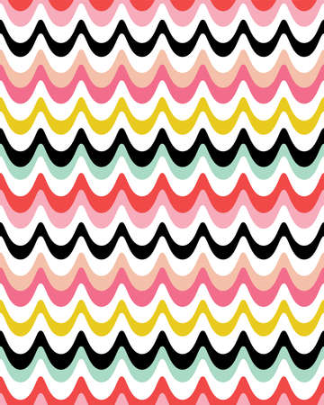 Seamless vector background with retro waves design in black, red, pink, yellow. Bright, colorful modern pattern in portrait format for home decor and fashion textiles, gift wrapping paper, wallpapers.