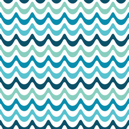 Seamless vector background with retro waves design in navy, aqua and mint. Fresh modern pattern in cool pastel colors for boys, home decor and fashion textiles, gift wrapping paper and wallpapers.
