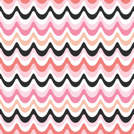 Seamless vector background with retro waves design in pink, coral and black. Fresh modern pattern in bright pastel colors for home decor and fashion textiles, gift wrapping paper and wallpapers.