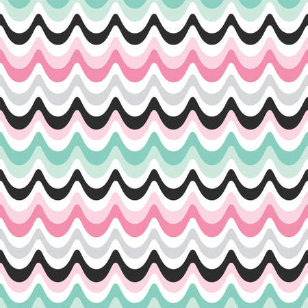 Seamless vector background with retro waves design in pink, mint and black. Fresh modern pattern in bright pastel colors for home decor and fashion textiles, gift wrapping paper and wallpapers.