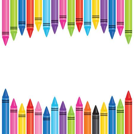 Vektorfahnenschablone mit Rahmen von bunten Ölpastellkreiden. Quadratisches Format mit Kopienraum für Back to School-Anzeigen, Werbeaktionen für Website, Flyer, Social Media, Newsletter, Schulposter.