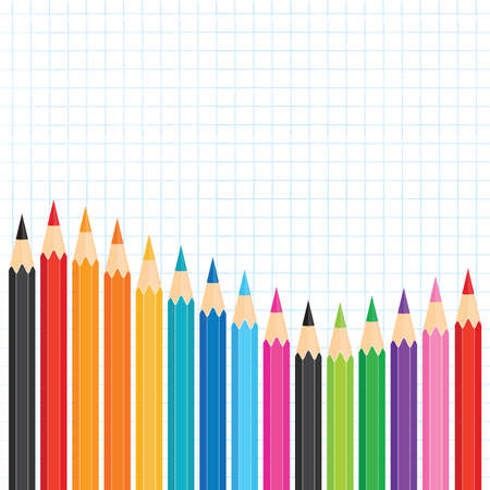 Vector banner template with a wavy row of colored pencils on graph paper. Square format with copy space for Back to School ads, promotions for website, flyer, social media, newsletter, school poster.