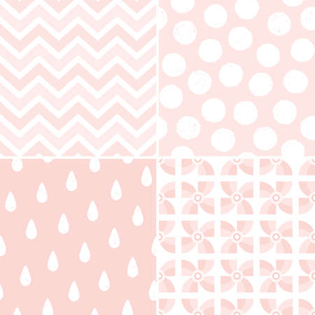 Set of seamless pastel backgrounds in living coral, blush pink and white. Pretty patterns for baby, girls, gift wrapping paper, textiles, wallpaper. Raindrops, zigzags, dots with texture overlay.