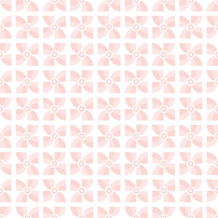Seamless geometric pastel background in living coral, blush pink and white. Cute pinwheel flowers pattern for baby, girls, gift wrapping paper, textiles, wallpaper.