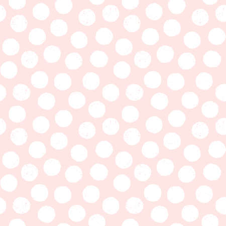 Seamless pastel background with polka dots in blush pink and white. Cute minimal pattern with textured overlay for baby, girls, gift wrapping paper, textiles, wallpaper.