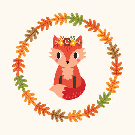 Vector greeting card with cute red fox and wreath of autumn leaves on cream background. Colorful fall illustration in flat style with copy space for thanksgiving card, web banner, menu, social media.