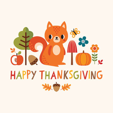 Vector Happy Thanksgiving card with cute squirrel and autumn elements in flat style. Cute, colorful illustration with hand made text and copy space for web banner, greeting card, menu, poster.