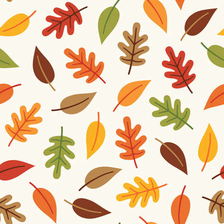 Seamless vector autumn leaves pattern in orange, brown and yellow on cream background. For textiles, home decor, greeting cards, wallpaper, gift wrapping paper, pattern fills, web page background.