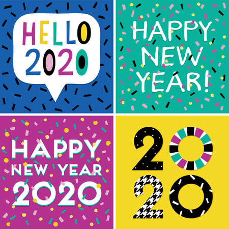 Set of four typographic cards or web banner designs for New Year with confetti in bright modern colors. Happy New Year 2020 text. For greeting card, poster, menu or party invitation templates. Illusztráció