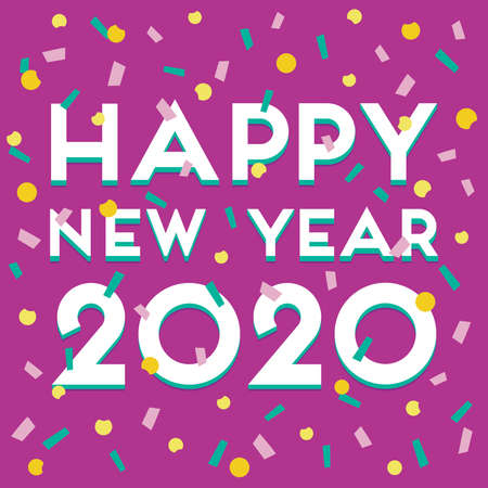 Cute vector card or web banner template with Happy New Year 2020 text in white on purple background and colorful confetti. Modern typographic design for greeting card, party invitation, poster, menu.