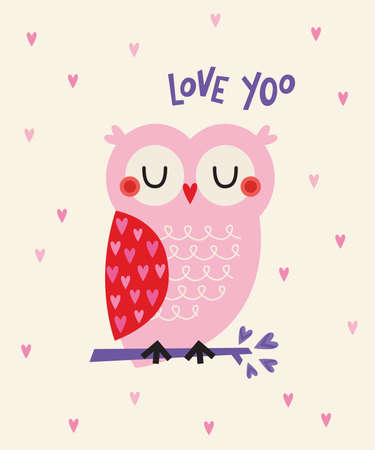 Adorable vector love illustration with cute pink and red owl on a branch with heart shaped leaves. Text reads Love Yoo. For Valentine's Day greeting card, Anniversary, web banners, social media.
