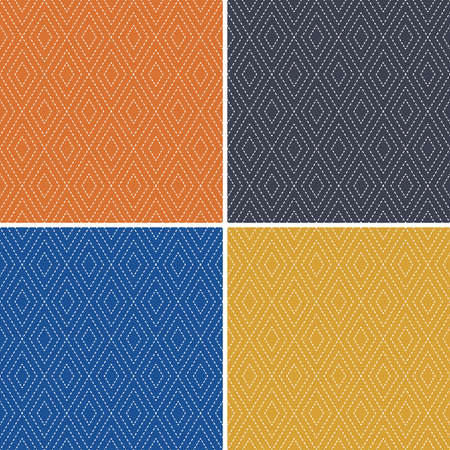 Set of 4 seamless geometric background patterns with textured diamond shapes in orange, classic blue, gray and mustard yellow. For wallpaper, wrapping paper, textiles, home decor.