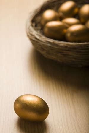 huevos de oro: Nido de los huevos de oro con un solo huevo en primer plano