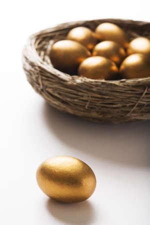 huevos de oro: Nido de huevos de oro con un solo huevo en primer plano Foto de archivo