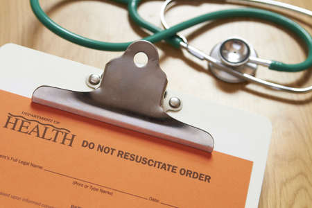 resuscitate: Do Not Resuscitate Form With Stethoscope Stock Photo