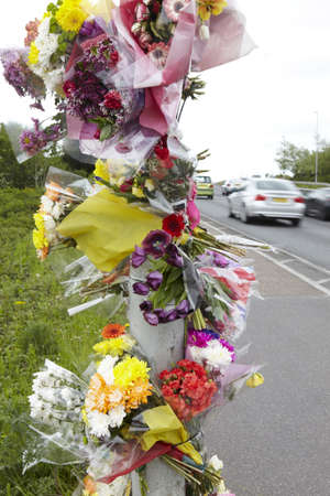 Floral Tribute At Site Of Fatal Traffic Accident
