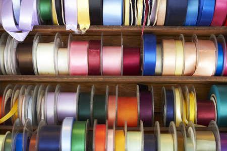 haberdashery: Display Of Ribbons On Market Stall