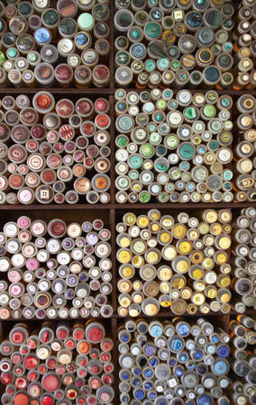 haberdashery: Display Of Buttons On Market Stall Stock Photo