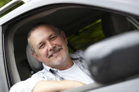 motorist: Middle Aged Male Motorist Stock Photo