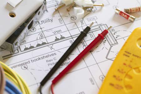 Electrical Components On House Plans Foto de archivo