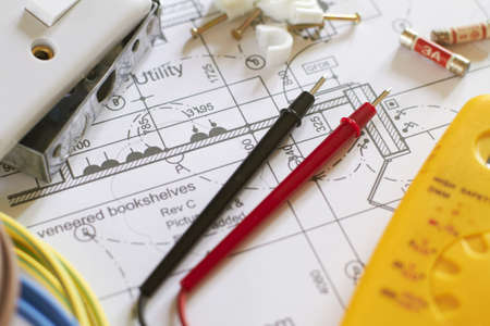Electrical Components On House Plans Archivio Fotografico