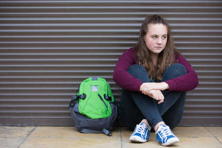 teenage girls: Homeless Teenage Girl On Streets With Rucksack