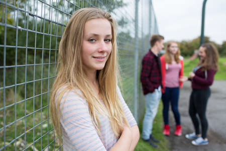 boy 15 year old: Portrait Of Teenage Girl Hanging Out With Friends In Playground Stock Photo