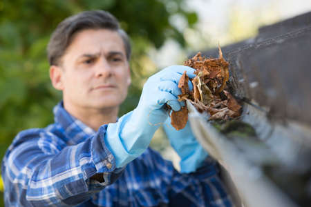 gutter: Man Clearing Leaves From Guttering Of House