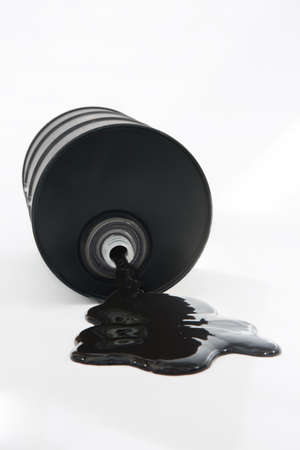Oil Spilling From Barrel On White Background