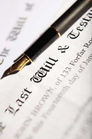 will power: Last Will And Testament Document With Fountain Pen Stock Photo