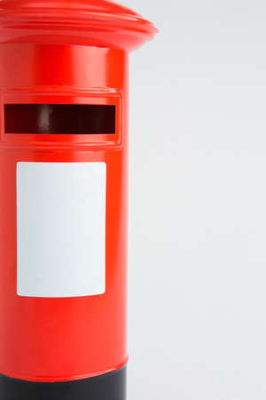 red post box: Studio Shot Of Red Post Box Stock Photo