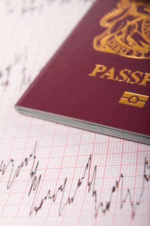 printout: UK Passport On ECG Printout To Illustrate Risk Of Catching Illness Overseas