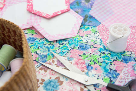basket embroidery: Stilll Life Of Quilt Making Fabric And Accessories Stock Photo