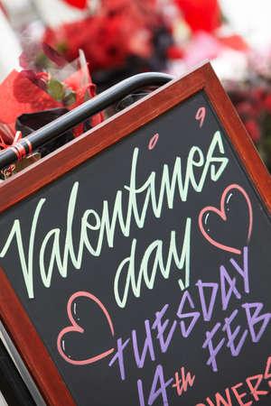 public celebratory event: Valentines Day Sign Outside Florist