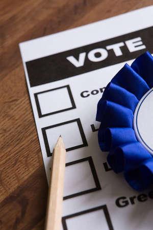lapiz y papel: Papeleta azul Política Rossette En Para la Elección