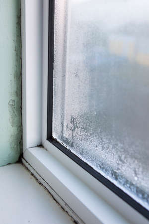 House Window With Damp And Condensation Foto de archivo